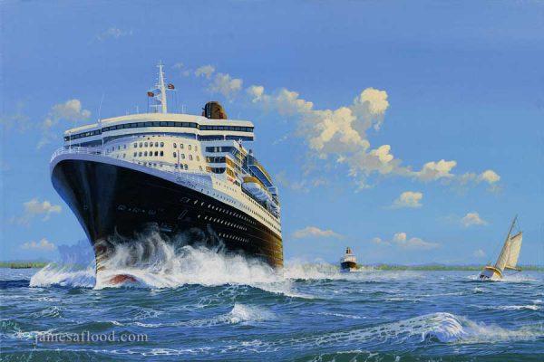 Queen Mary 2 in the Solent, 2004 Art Print