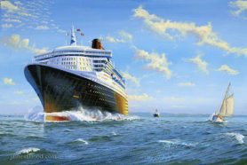 RMS Queen Mary 2 Departing the Solent