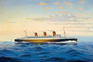 Painting of RMS Queen Mary at sea