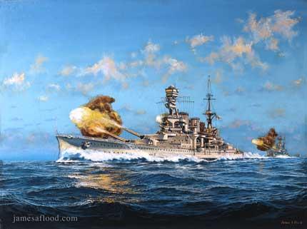 HMS Repulse portrayed at firing practice