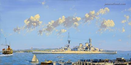Painting of HMS Repulse, 1936