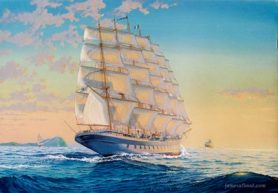 Painting of cruise ship Royal Clipper