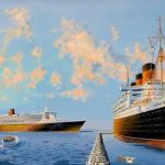 Painting of RMS Queen Mary &  RMS QM 2