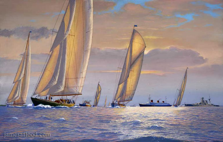 Shamrock V and other yachts racing in the Solent, 1935.