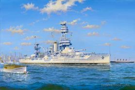 Painting of USS Texas departing NYH.