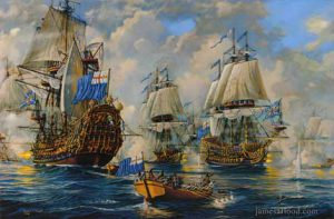 Painting of the Battle of Texel, 1673.