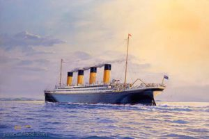 Painting of RMS Titanic in Queenstown