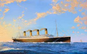RMS Titanic at sea in the early morning