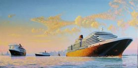 MS Queen Victoria, QE2, QM2 meeting in NYH.