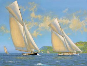 White Heather racing against royal yacht Britannia