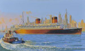 Painting of SS Liberte passing New York City Skyline 1950s