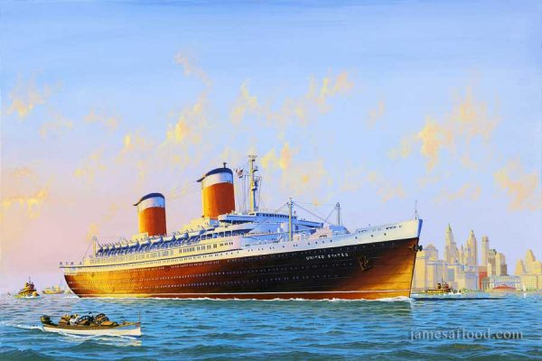 SS United States Departing NYH Art Print