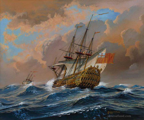 HMS Hampton Court Royal Navy Art Print