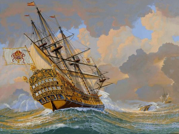 HMS Hampton Court in a hurricane Art Print